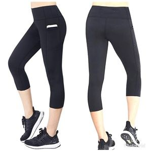 Pants - 2 Pairs Black Capri Leggings with Pockets